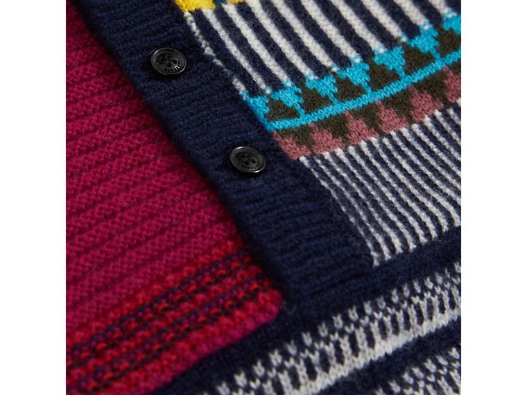 Patchwork Wool Cashmere Three-piece Baby Gift Set in Red/navy | Burberry - cell image 1