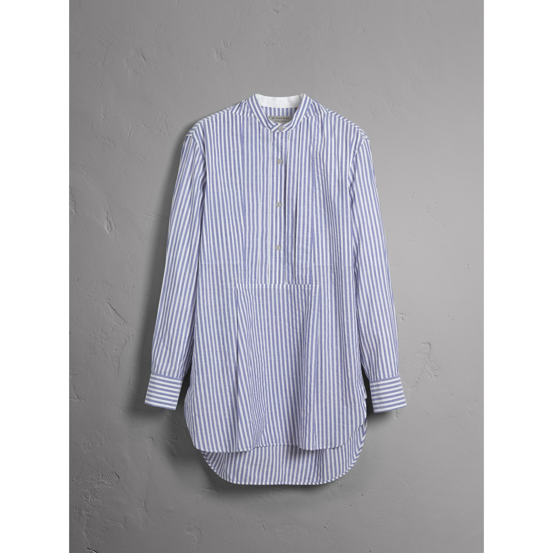 Unisex Pleated Bib Striped Cotton Shirt in Pale Blue/white - Men | Burberry - gallery image 4