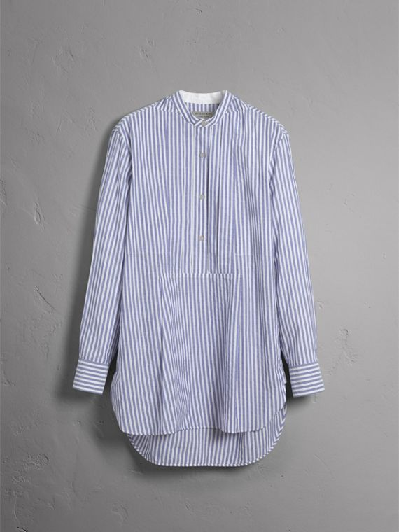 Unisex Pleated Bib Striped Cotton Shirt in Pale Blue/white - Men | Burberry - cell image 3