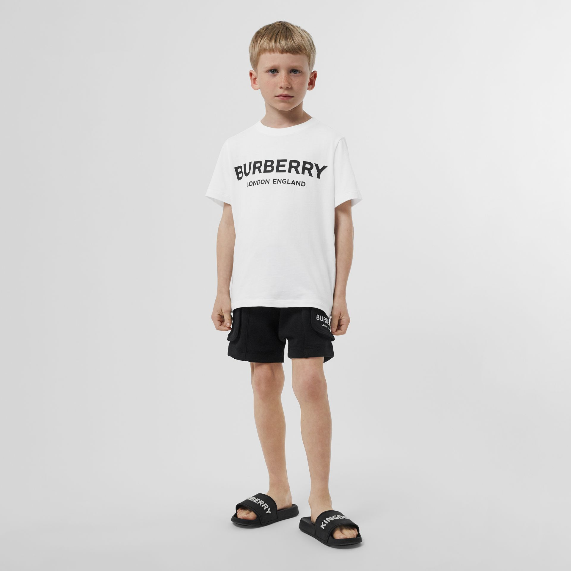 Logo Print Cotton T-shirt in White | Burberry Australia - gallery image 3