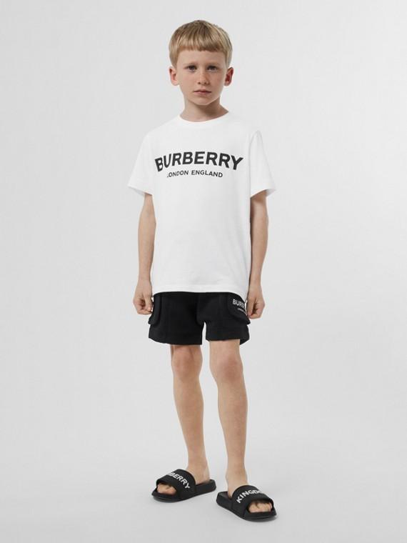 T-shirt en coton avec logo imprimé (Blanc)