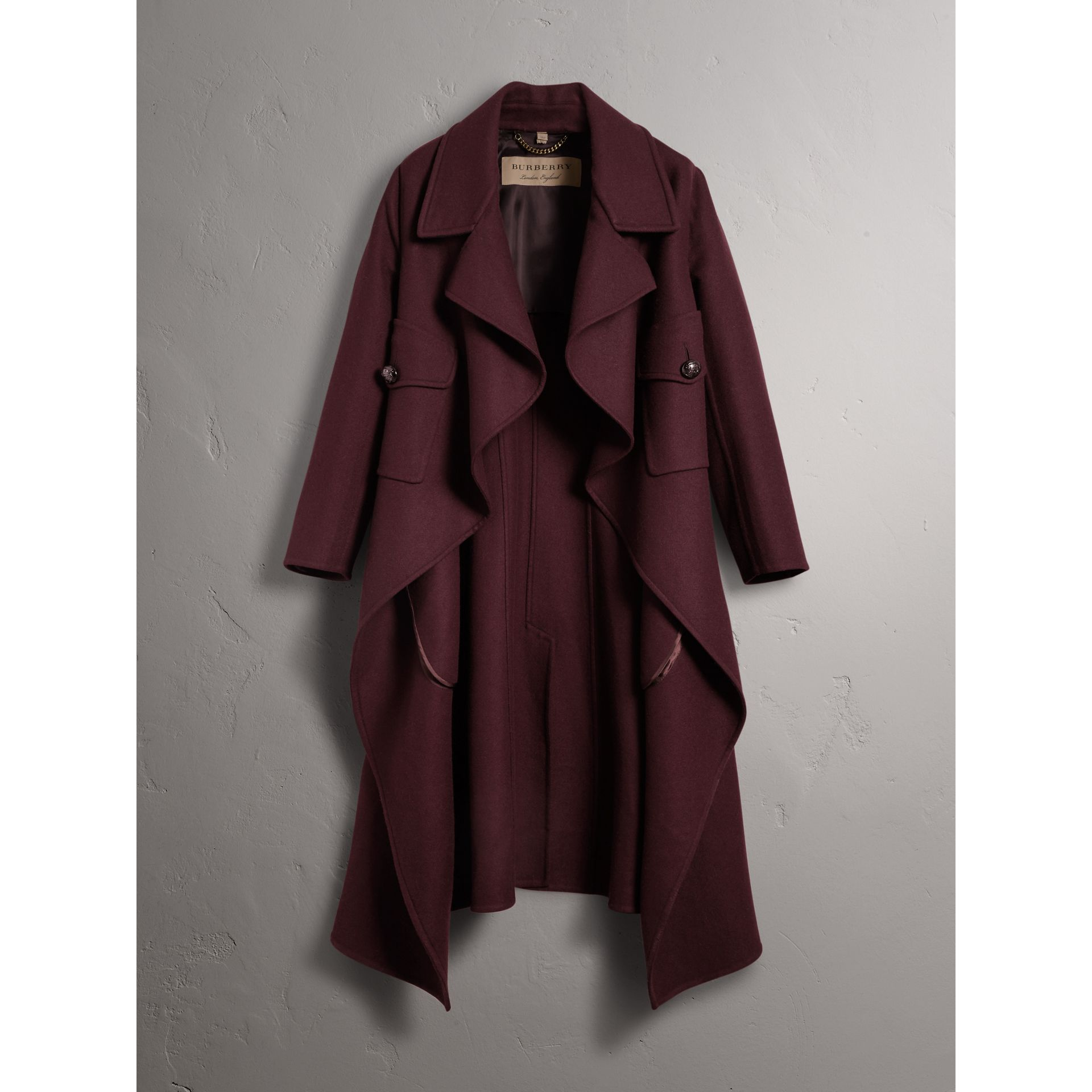 Double-faced Wool Cashmere Wrap Coat in Deep Claret - Women | Burberry Singapore - gallery image 4