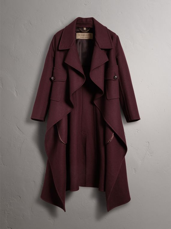 Double-faced Wool Cashmere Wrap Coat in Deep Claret - Women | Burberry Singapore - cell image 3