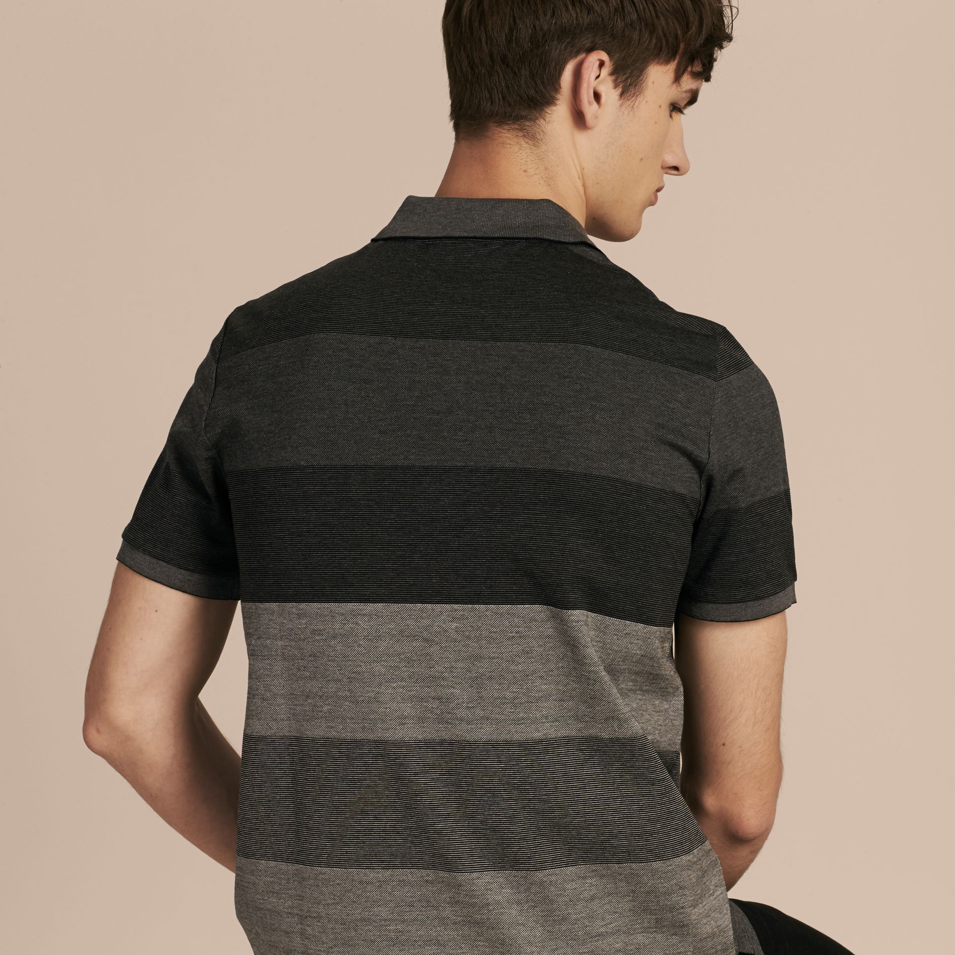 Mid grey melange Striped Stretch Cotton Piqué Polo Shirt Mid Grey Melange - gallery image 3
