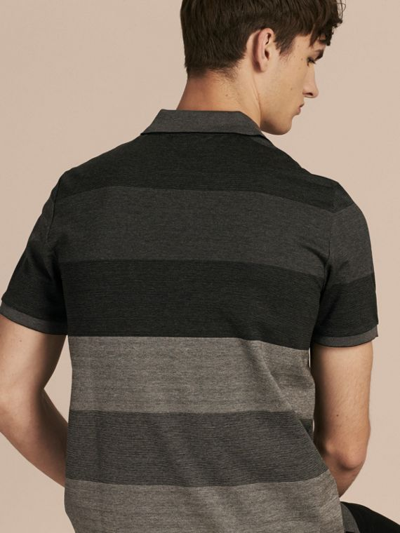 Mid grey melange Striped Stretch Cotton Piqué Polo Shirt Mid Grey Melange - cell image 2