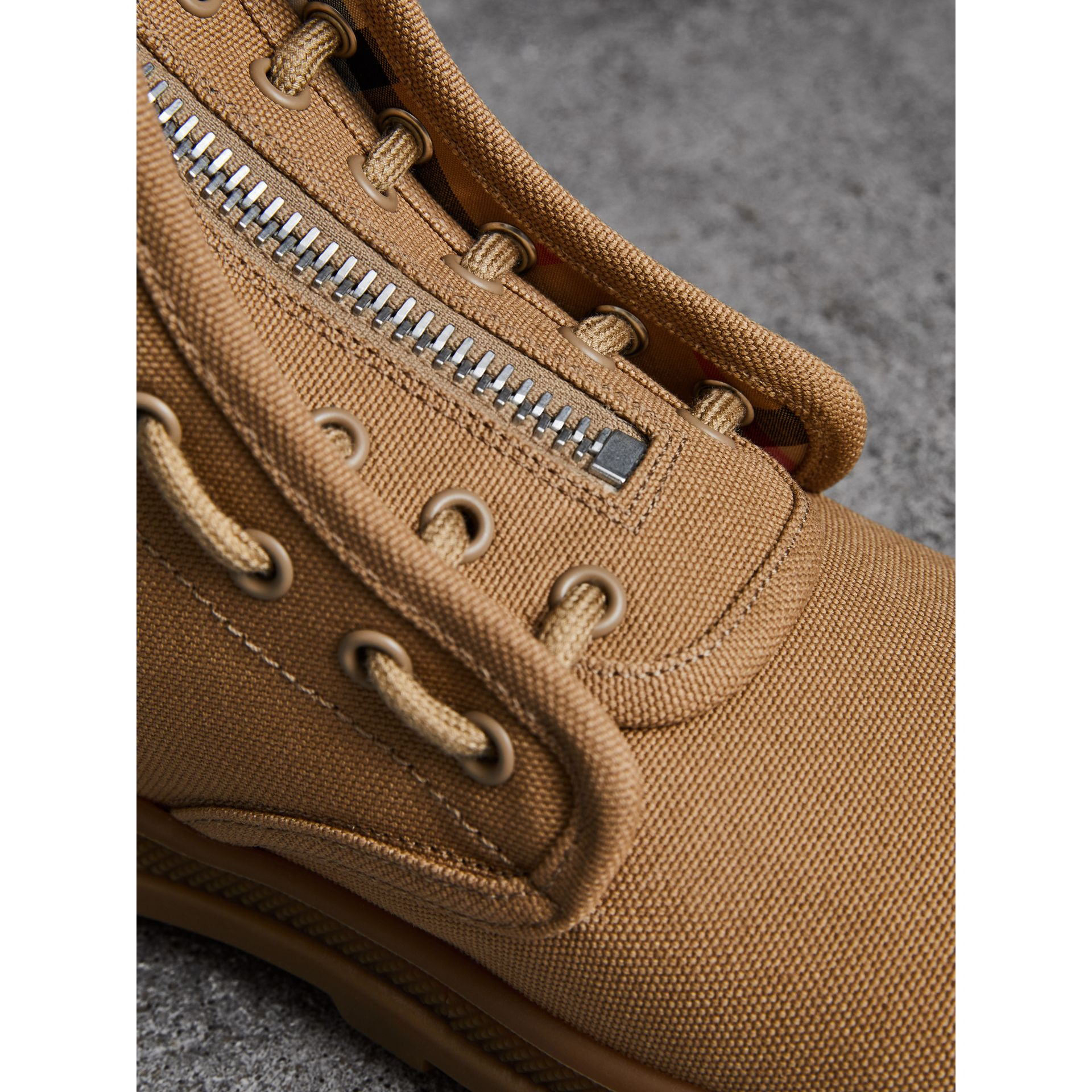 Zipped Cotton Canvas Boots in Mid Camel - Men | Burberry United States - gallery image 1