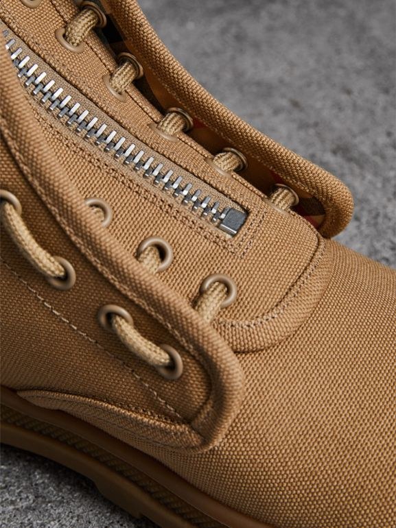 Zipped Cotton Canvas Boots in Mid Camel - Men | Burberry - cell image 1
