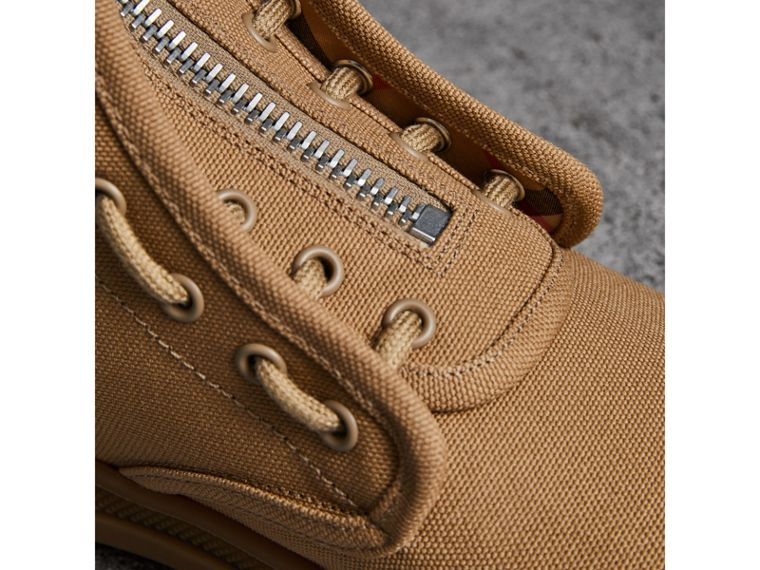 Zipped Cotton Canvas Boots in Mid Camel - Men | Burberry United States - cell image 1