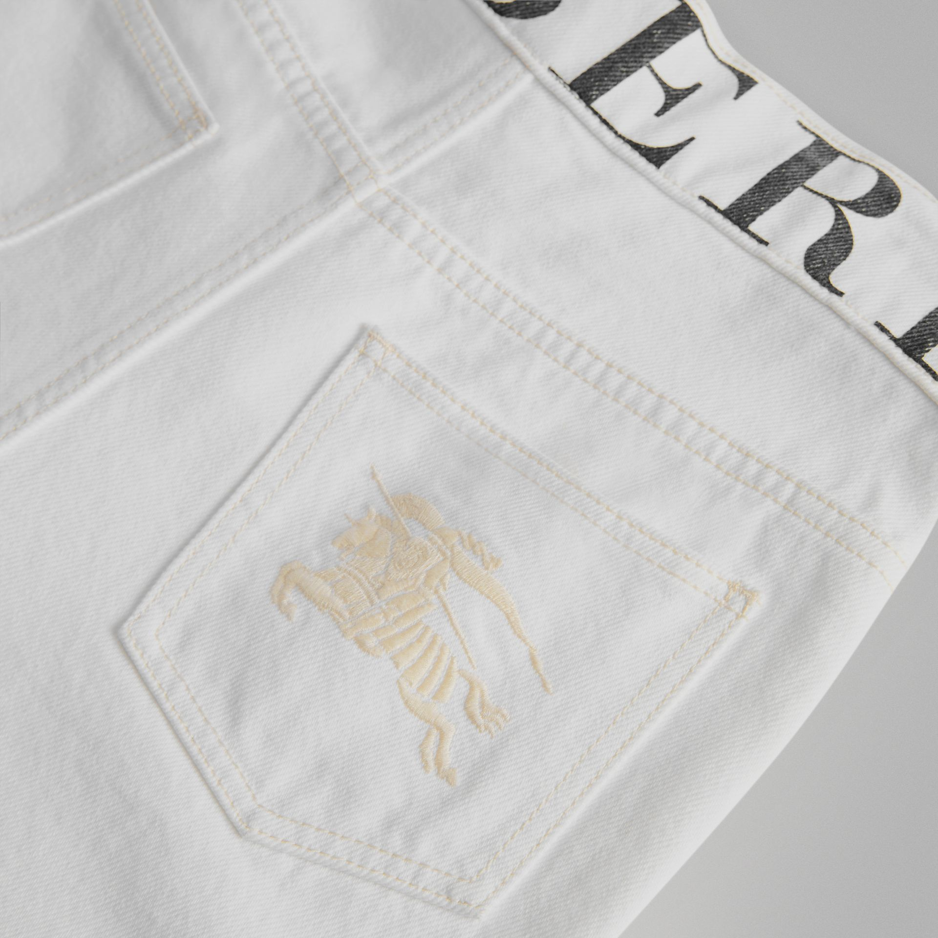 Relaxed Fit Logo Print Jeans in Natural White | Burberry - gallery image 1