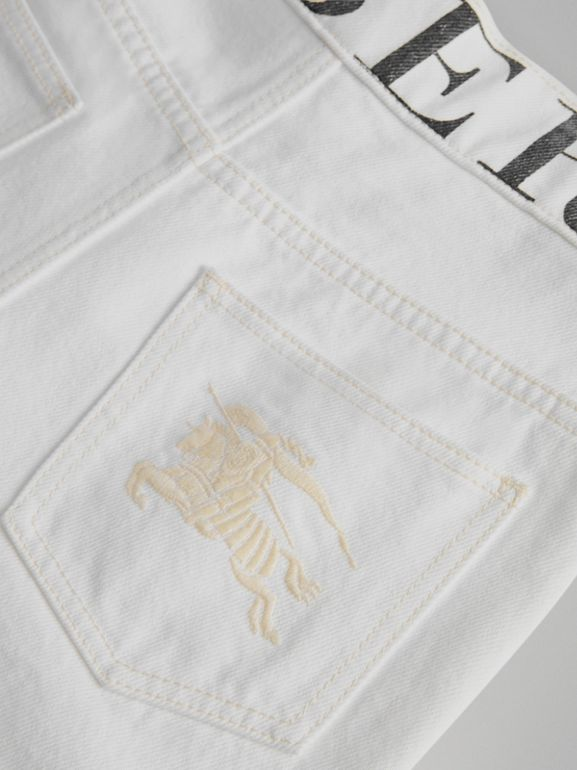 Relaxed Fit Logo Print Jeans in Natural White | Burberry - cell image 1