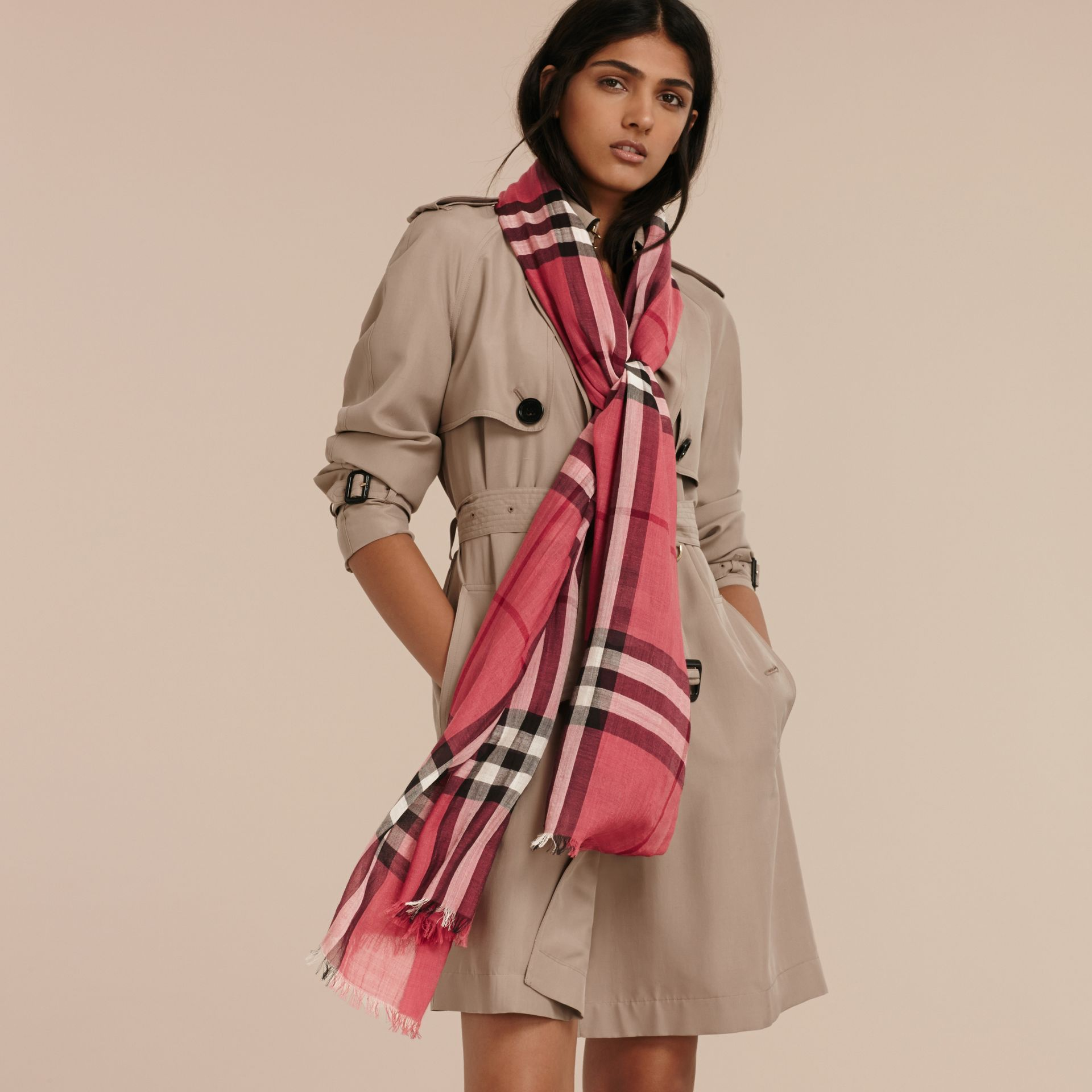 Blush pink Lightweight Check Wool and Silk Scarf Blush Pink - gallery image 2