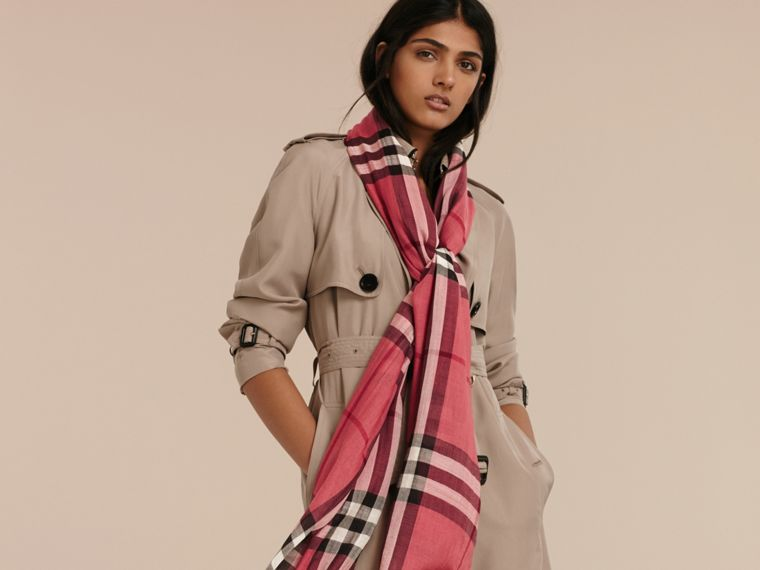 Blush pink Lightweight Check Wool and Silk Scarf Blush Pink - cell image 1