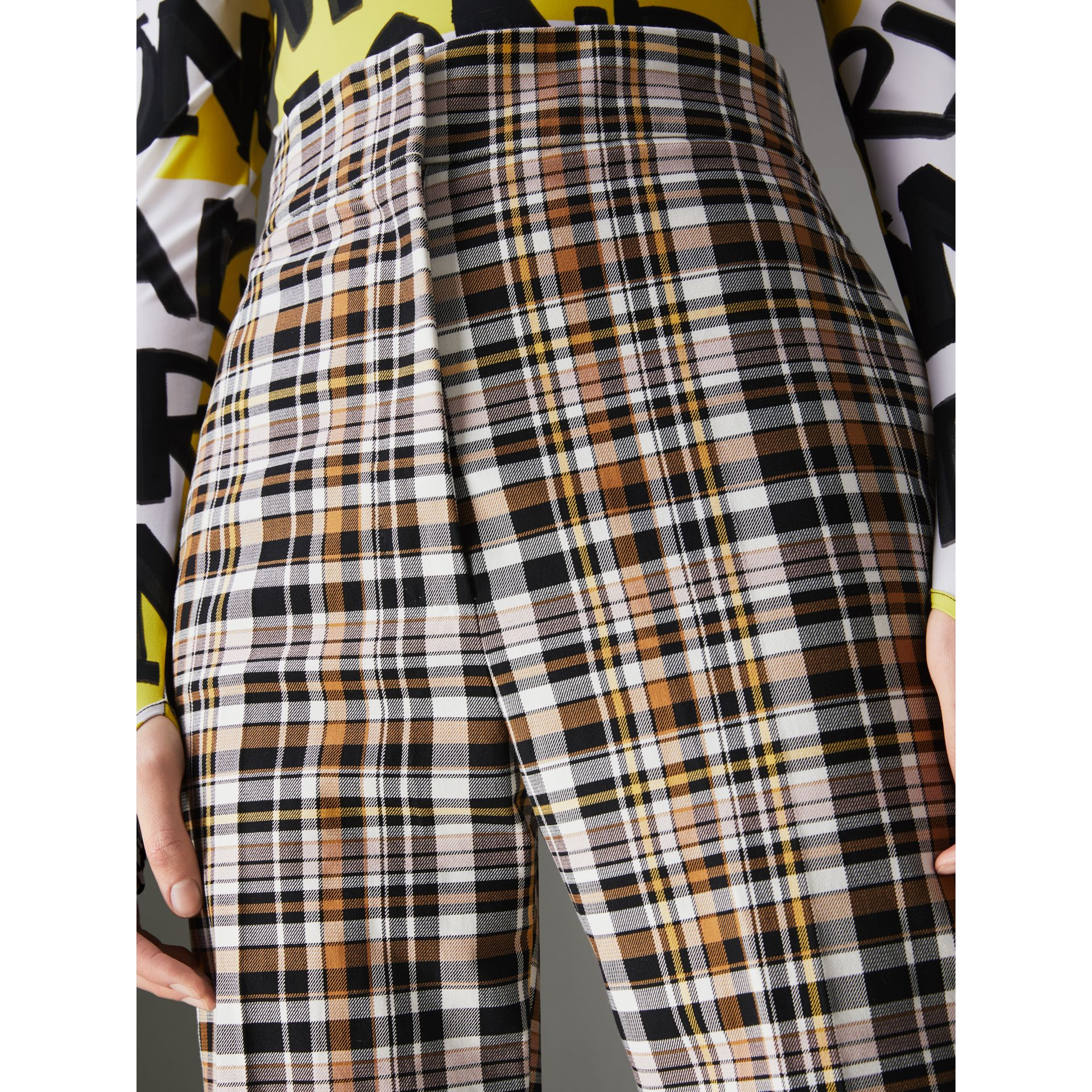 Check Stretch Cotton High-waisted Trousers in Bright Toffee - Women | Burberry Australia - gallery image 1