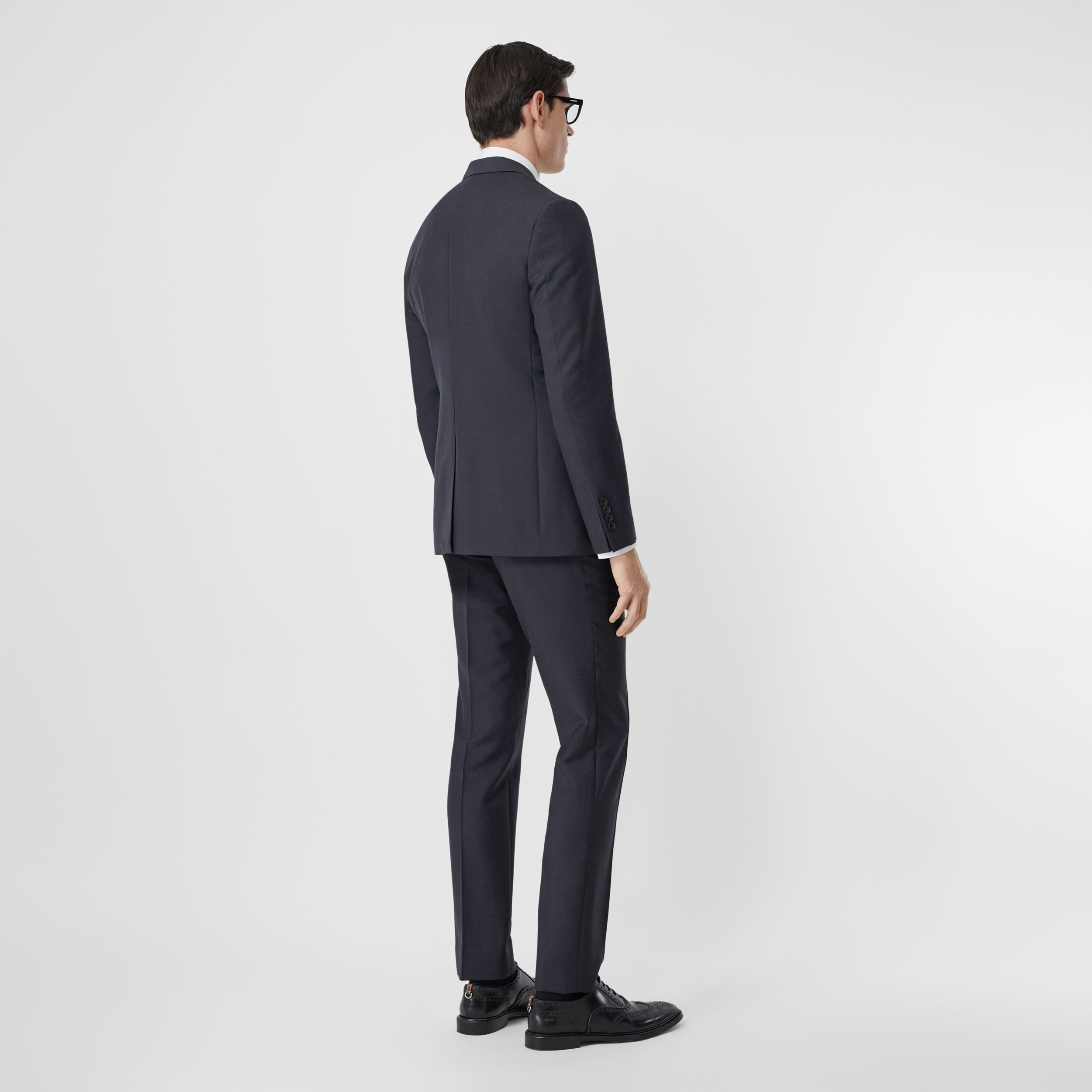 Slim Fit Wool Mohair Suit in Navy - Men | Burberry Australia - 3
