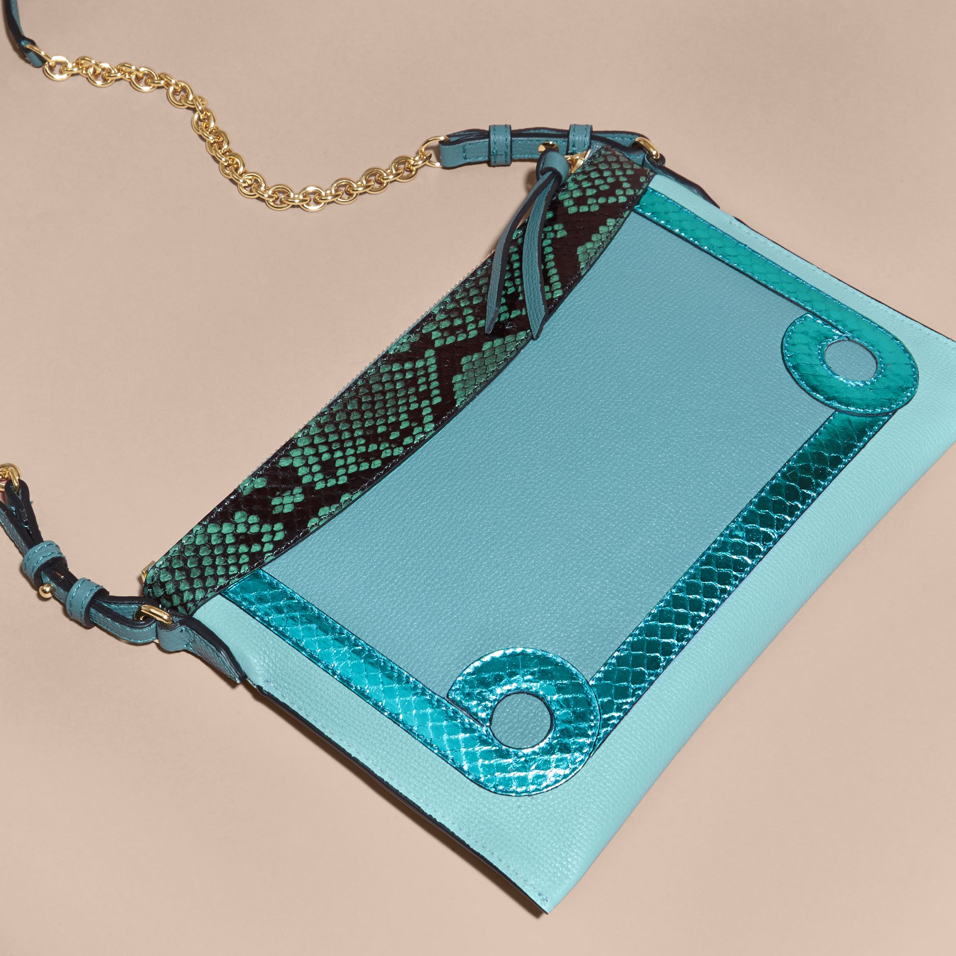 Celadon blue Leather and Snakeskin Clutch Bag Celadon Blue - gallery image 5