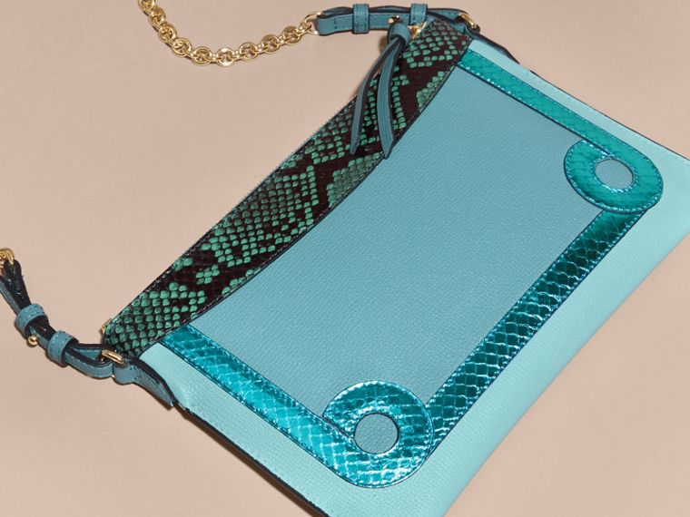 Celadon blue Leather and Snakeskin Clutch Bag Celadon Blue - cell image 4