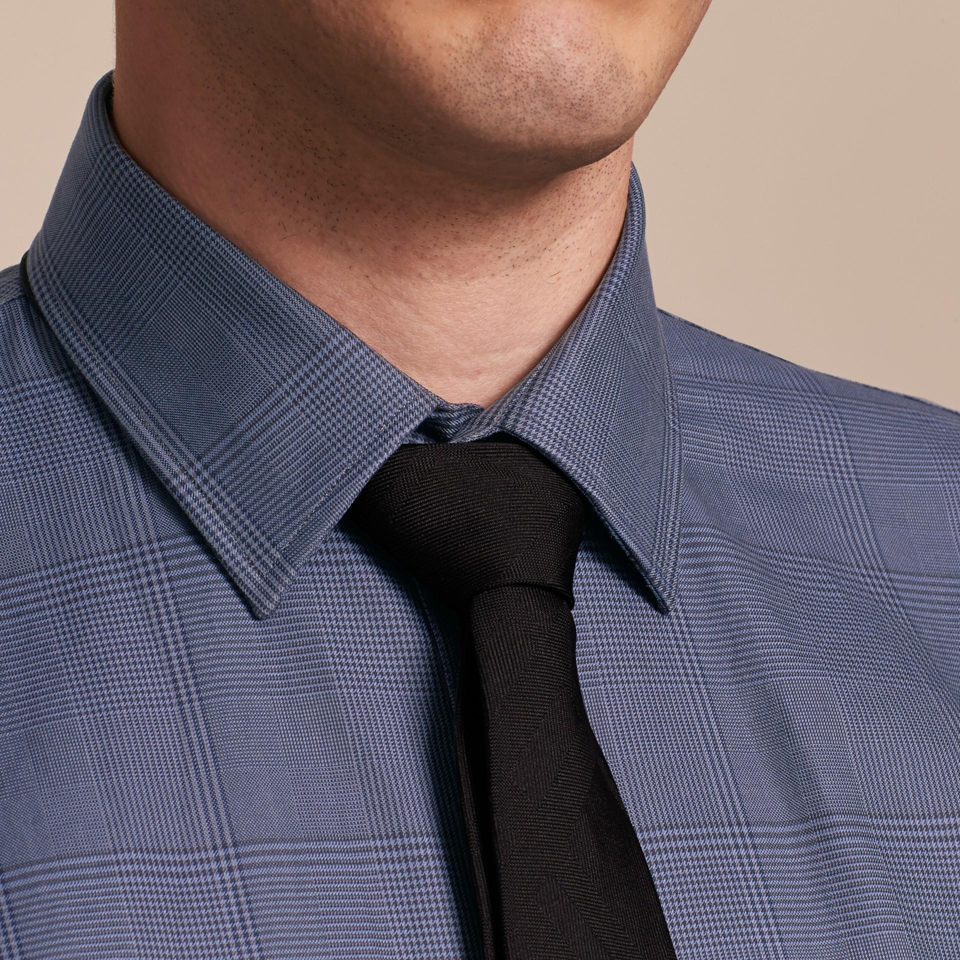Modern Fit Check Cotton Poplin Shirt Bright Navy - gallery image 5
