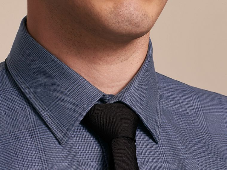 Modern Fit Check Cotton Poplin Shirt Bright Navy - cell image 4