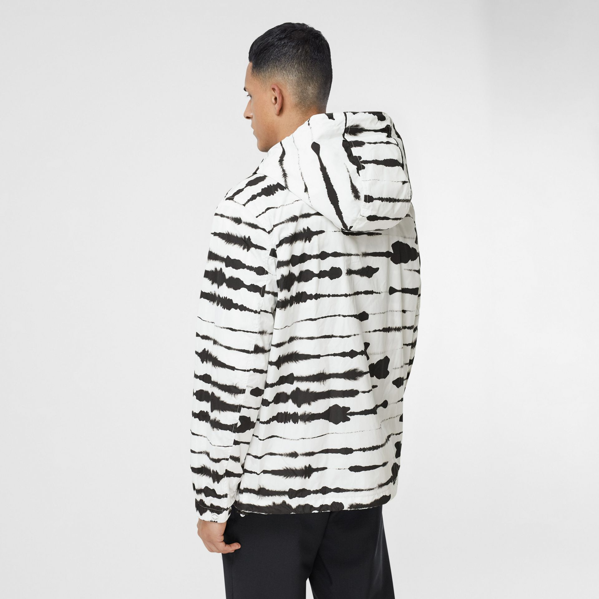 Logo Appliqué Watercolour Print Hooded Jacket in Monochrome - Men | Burberry - gallery image 2