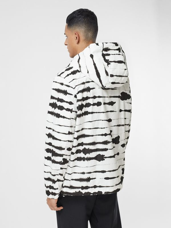 Logo Appliqué Watercolour Print Hooded Jacket in Monochrome - Men | Burberry - cell image 2