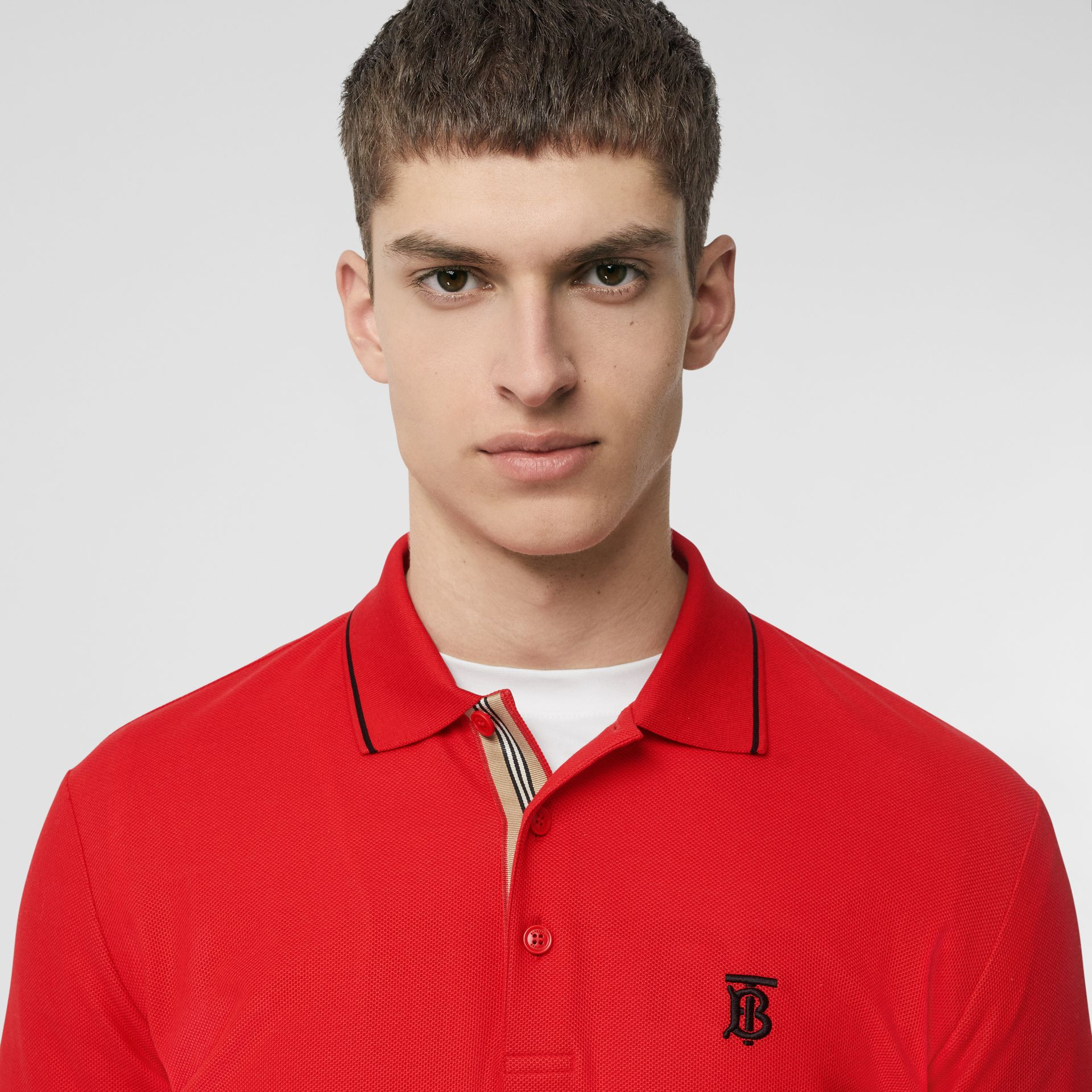 Icon Stripe Placket Cotton Piqué Polo Shirt in Bright Red - Men | Burberry - gallery image 1