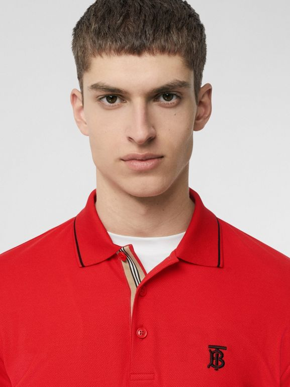 Icon Stripe Placket Cotton Piqué Polo Shirt in Bright Red - Men | Burberry United Kingdom - cell image 1