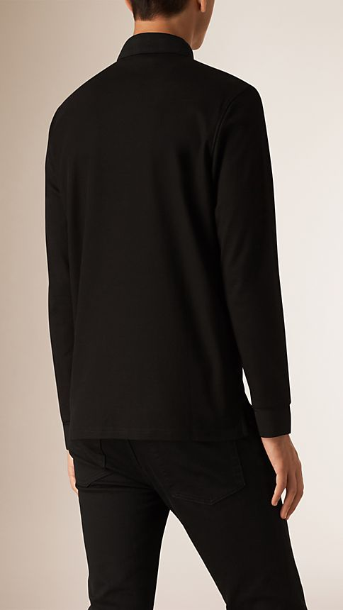 Black Long Sleeve Polo Shirt Black - Image 2