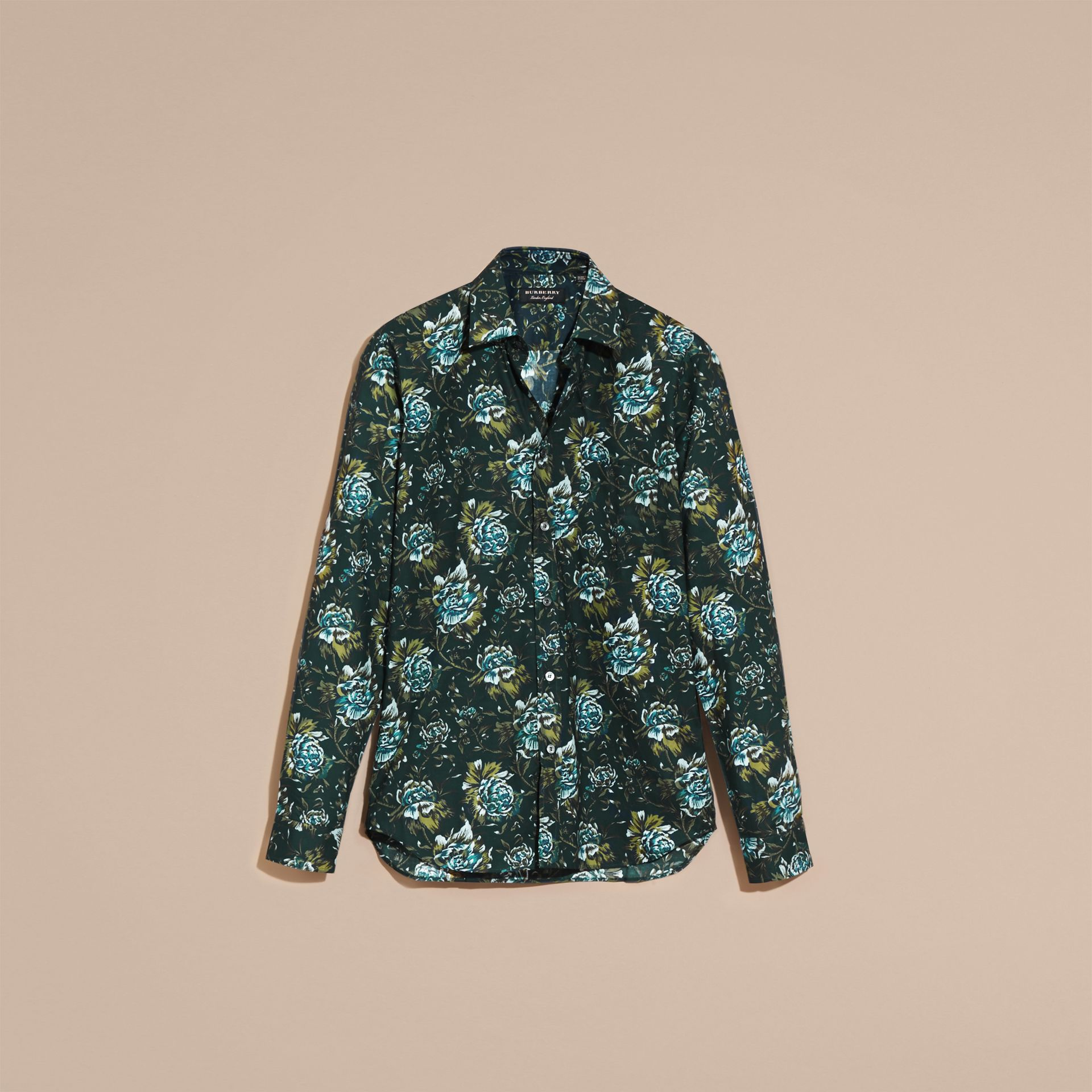Dark teal green Peony Rose Print Cotton Poplin Shirt - gallery image 4