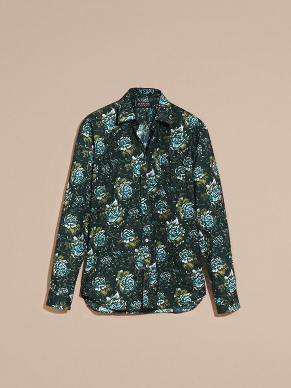 Dark teal green Peony Rose Print Cotton Poplin Shirt - cell image 3