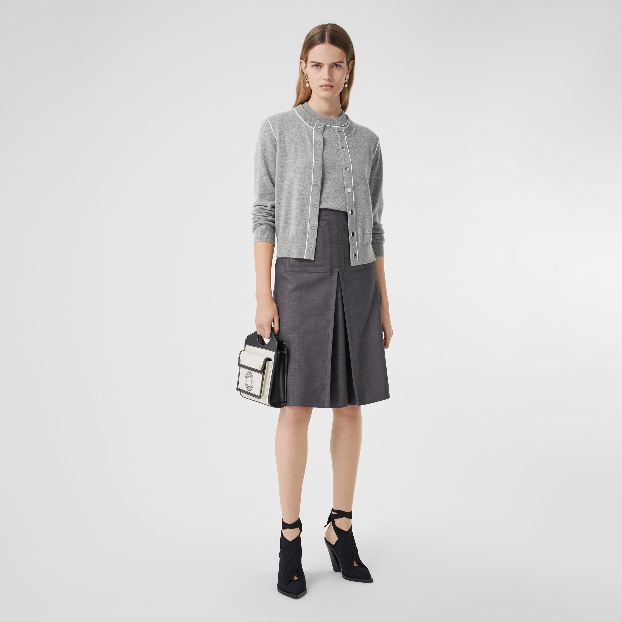 Silk Trim Monogram Motif Cashmere Cardigan in Grey Melange - Women | Burberry Australia - 1