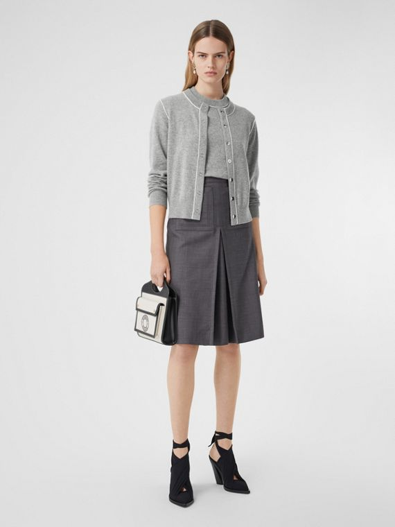 Silk Trim Monogram Motif Cashmere Cardigan in Grey Melange