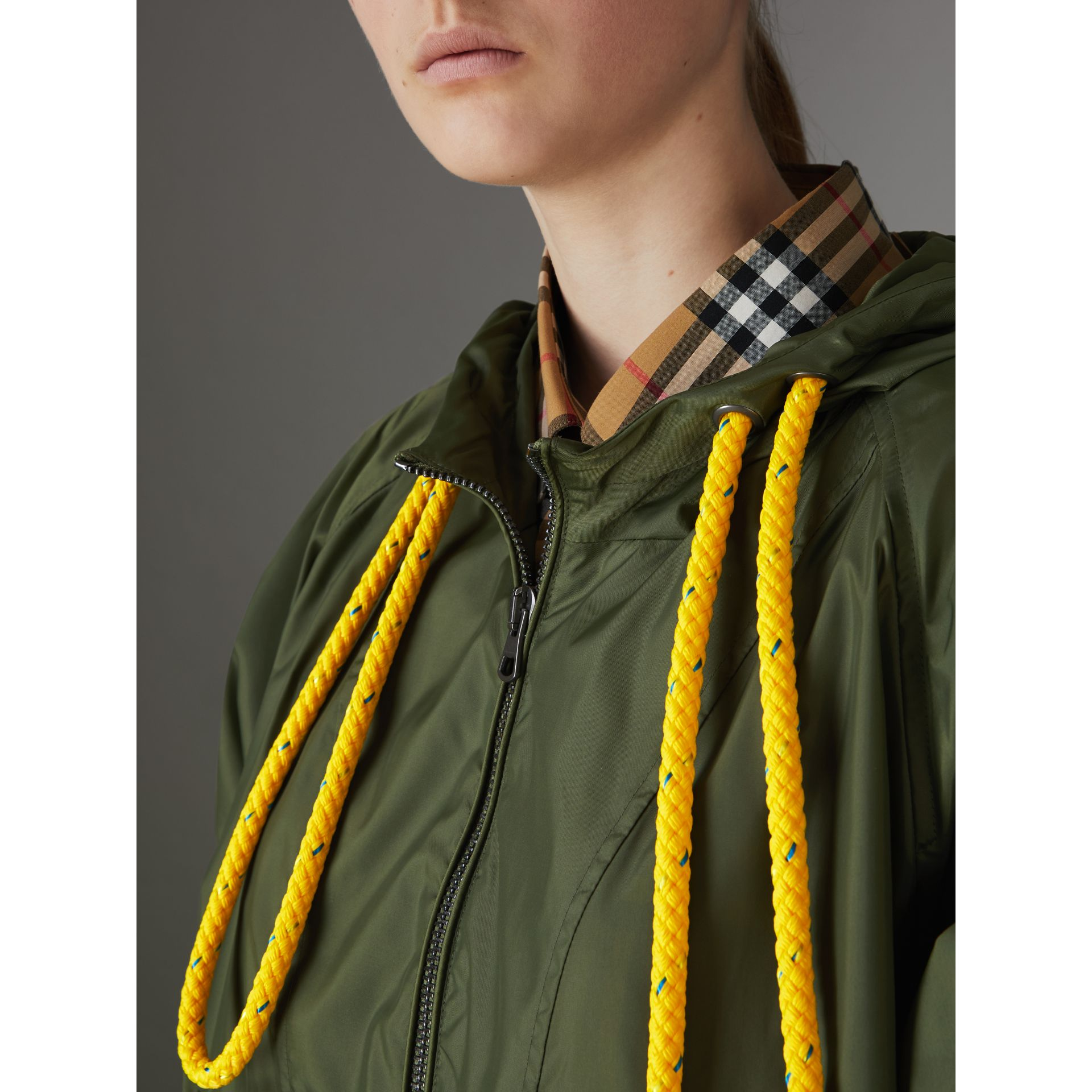 Oversized Nylon Cagoule in Light Olive - Women | Burberry - gallery image 1