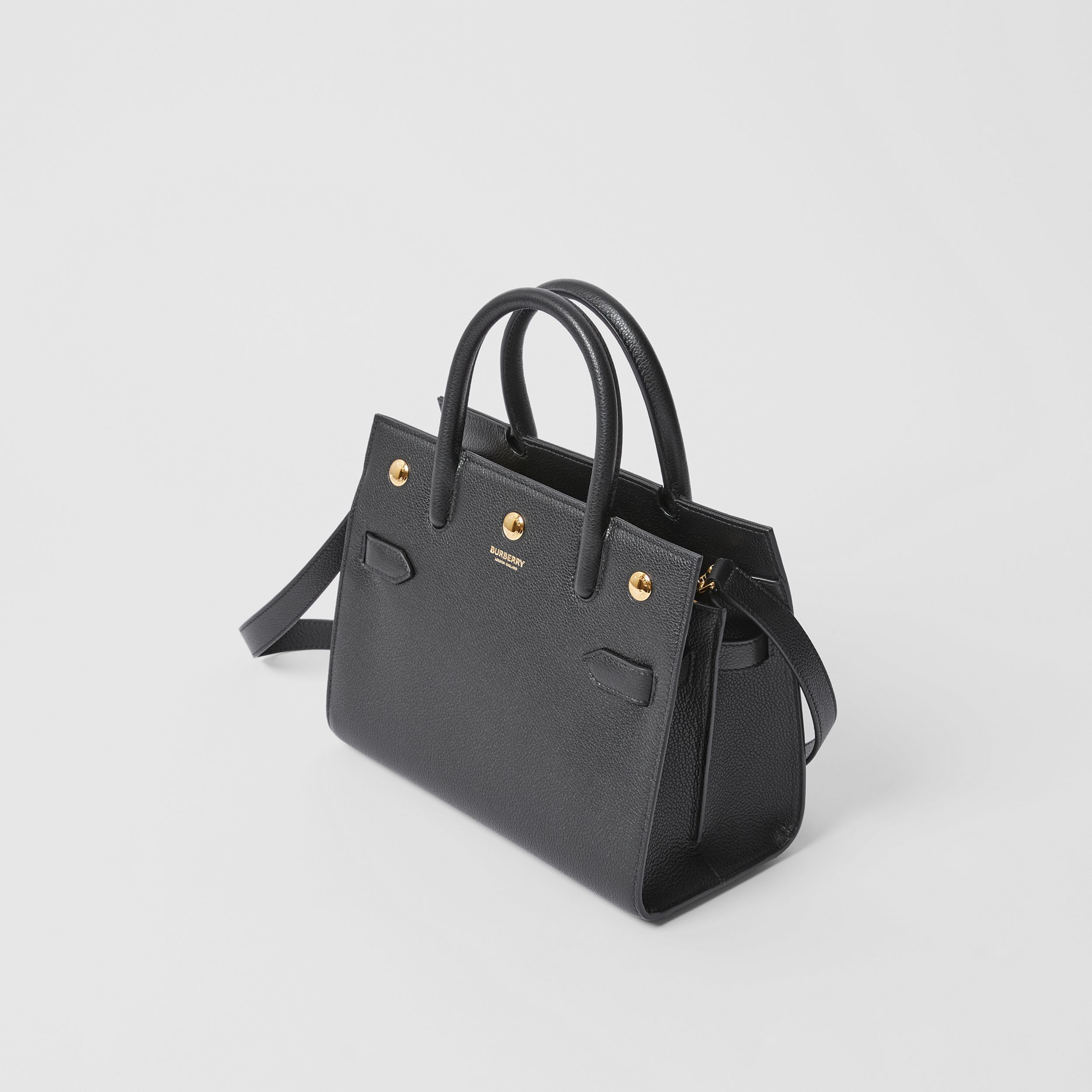 Mini Leather Two-handle Title Bag in Black - Women | Burberry - 4