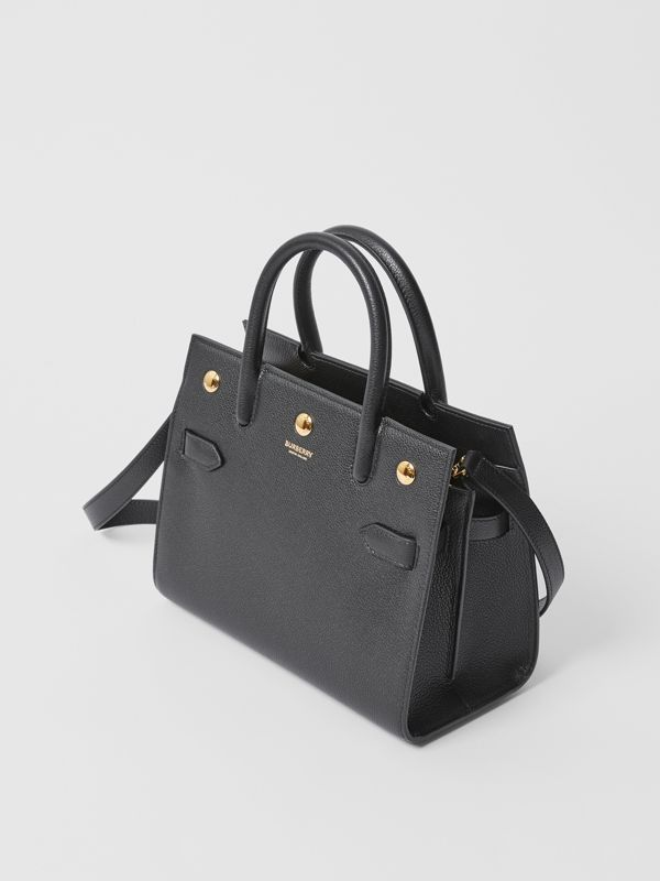 Mini Leather Two-handle Title Bag in Black - Women | Burberry - cell image 3