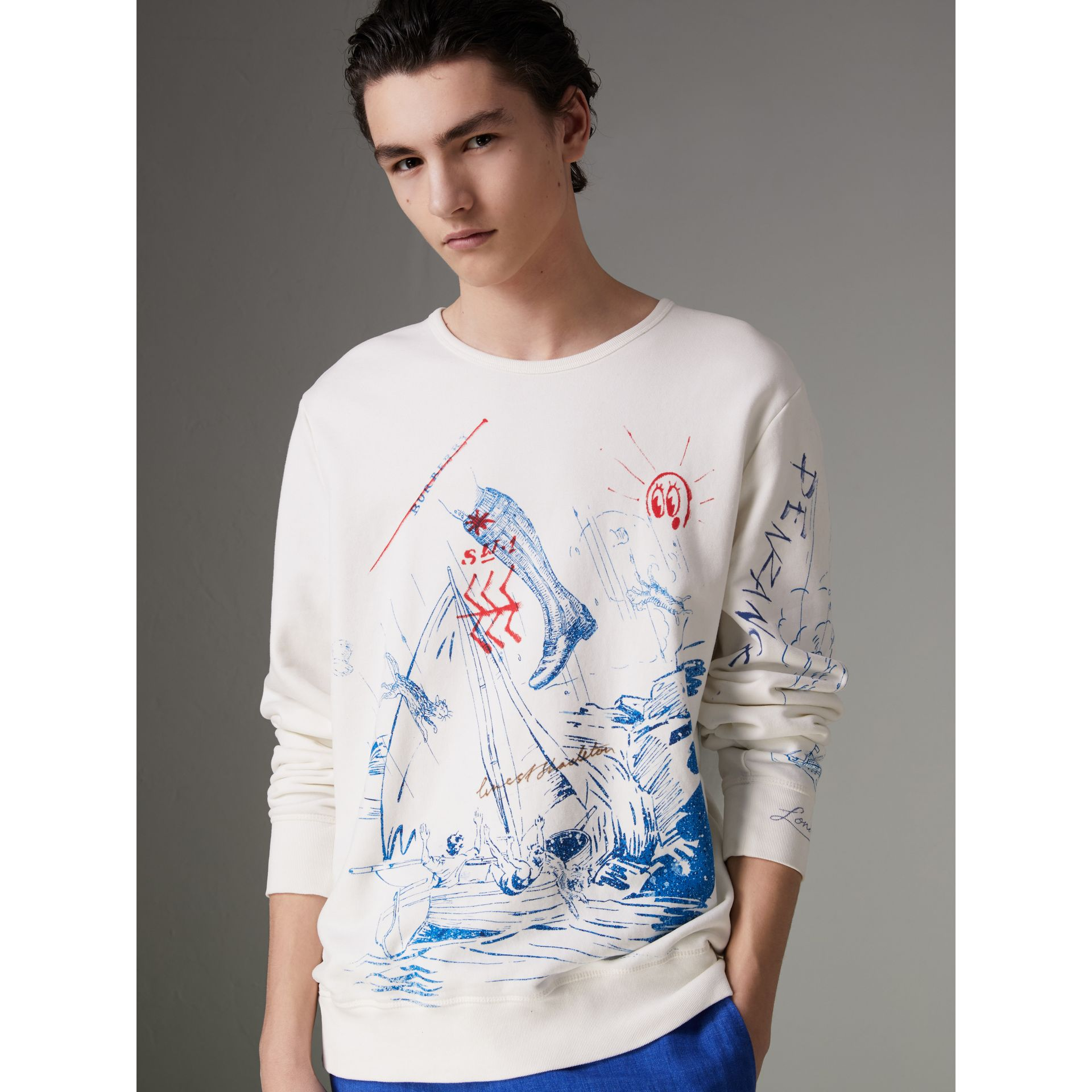 Adventure Print Cotton Sweatshirt in Natural White - Men | Burberry Australia - gallery image 0