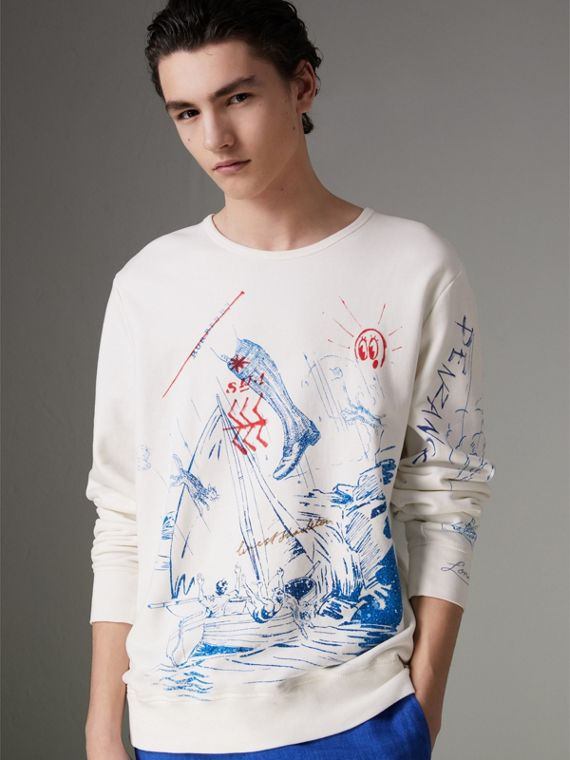 Adventure Print Cotton Sweatshirt in Natural White