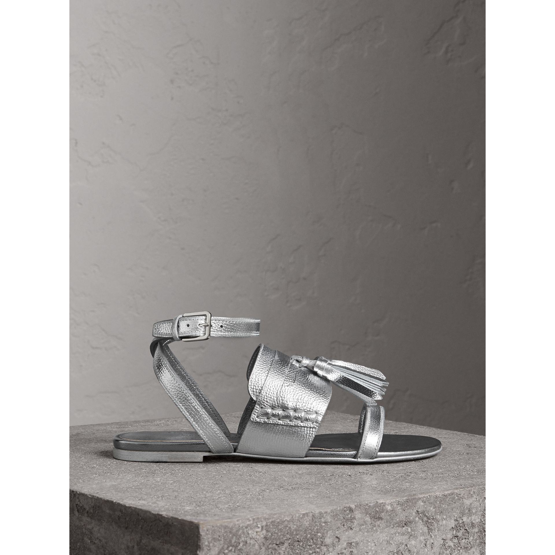 Tasselled Metallic Leather Sandals in Silver - Women | Burberry - gallery image 4