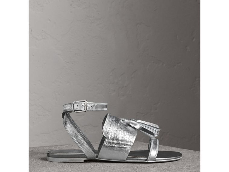 Tasselled Metallic Leather Sandals in Silver - Women | Burberry - cell image 4