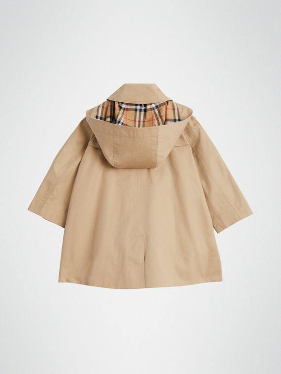 Detachable Hood Showerproof Cotton Swing Coat in Honey