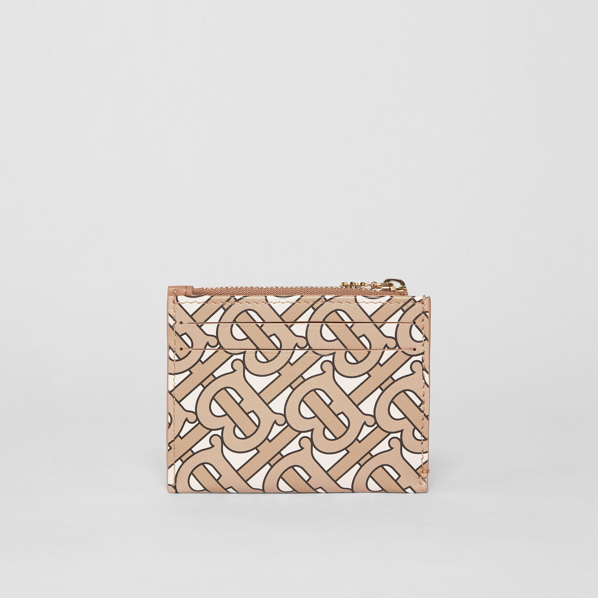 Monogram Print Leather Zip Card Case in Beige - Women | Burberry United States - gallery image 4