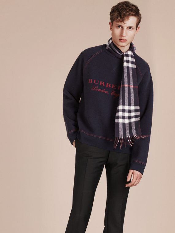 Navy/claret The Slim Reversible Cashmere Scarf in Check Navy/claret - cell image 2