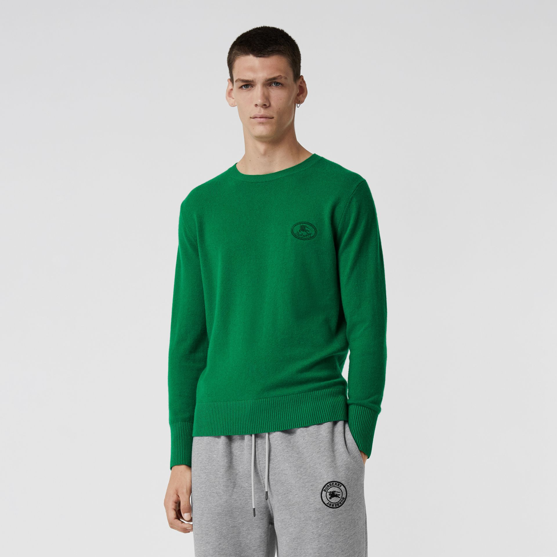 Embroidered Archive Logo Cashmere Sweater in Bright Green - Men | Burberry United Kingdom - gallery image 0