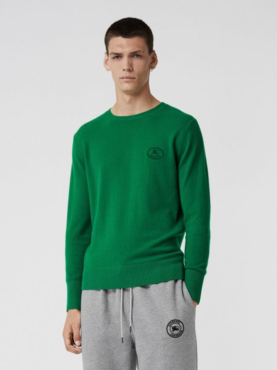Embroidered Archive Logo Cashmere Sweater in Bright Green