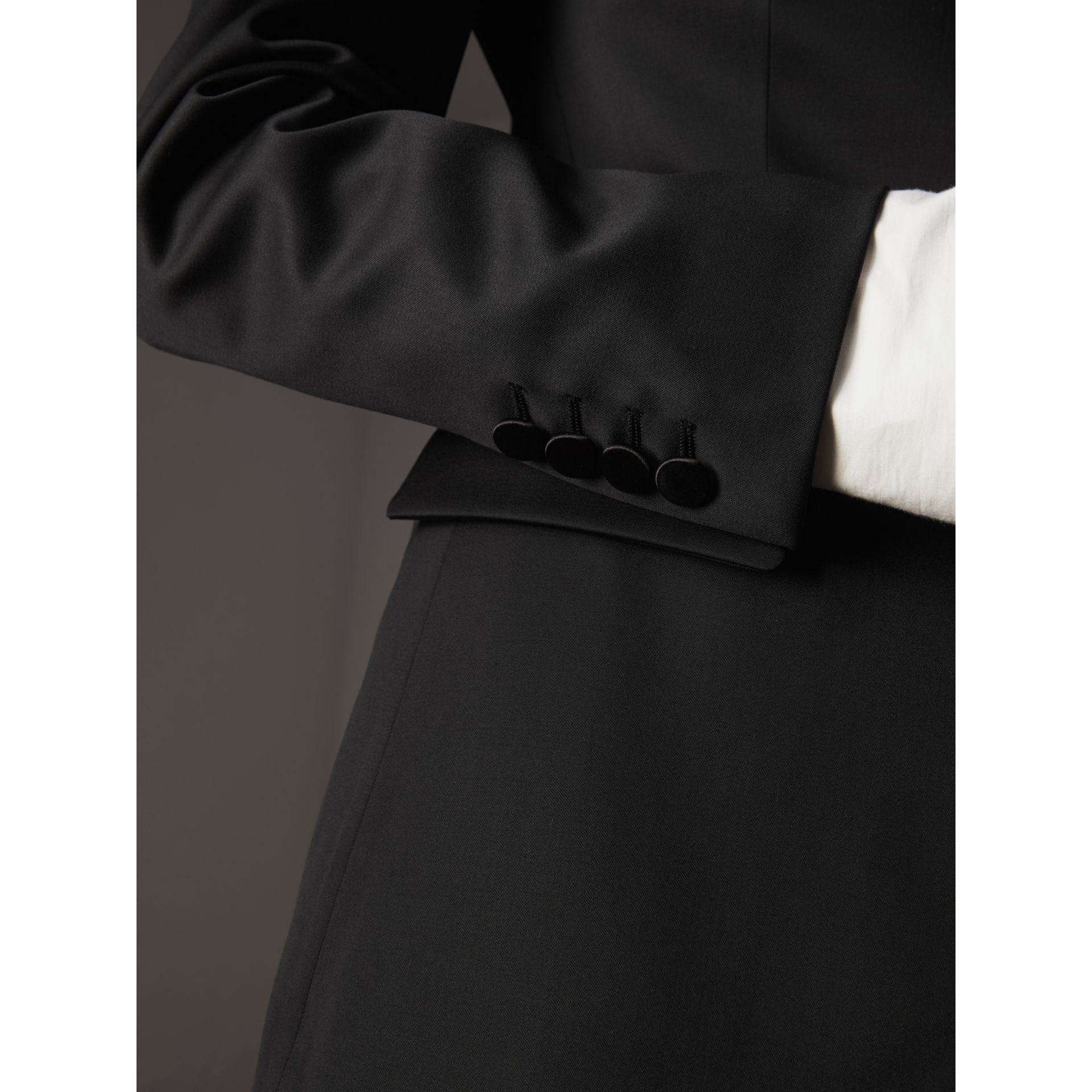 Stretch Wool Tuxedo Jacket in Black - Women | Burberry - gallery image 5