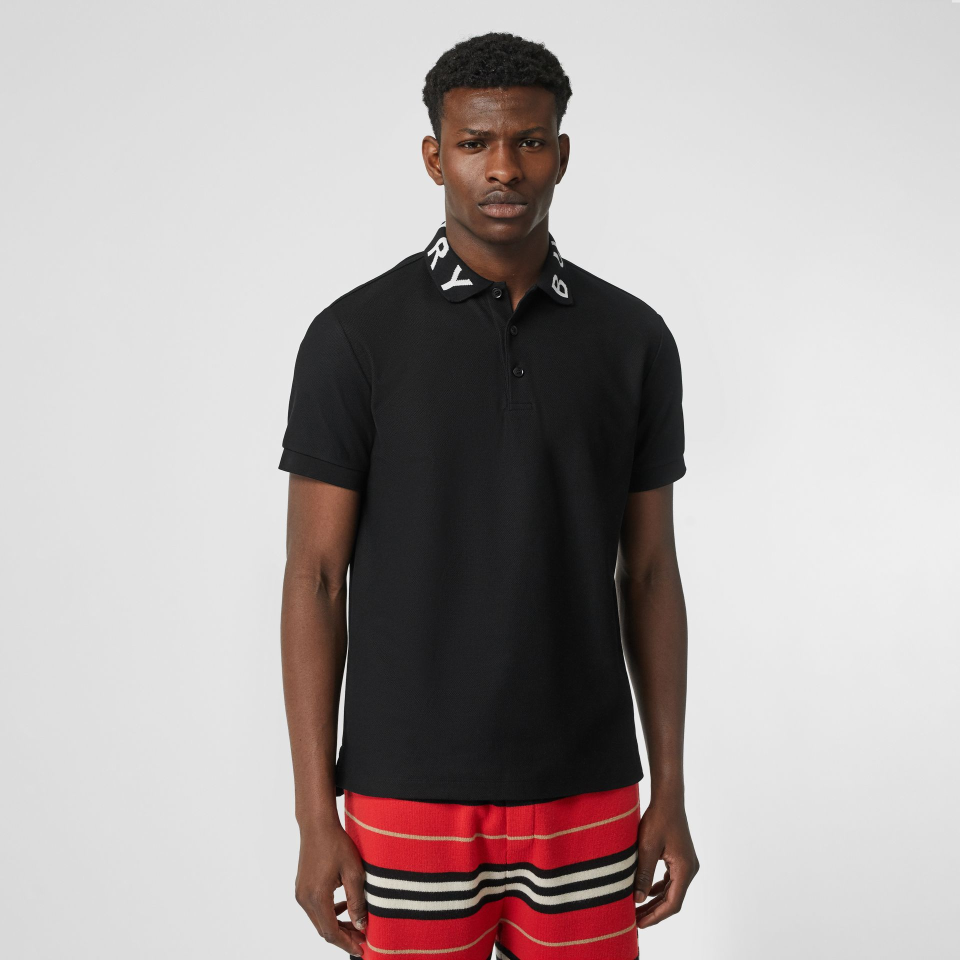 Logo Intarsia Cotton Piqué Polo Shirt in Black - Men | Burberry Canada - gallery image 3