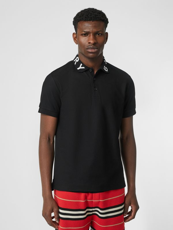 Logo Intarsia Cotton Piqué Polo Shirt in Black - Men | Burberry Canada - cell image 3