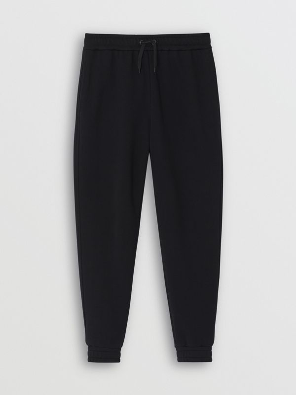 Logo Print Cotton Trackpants in Black - Men | Burberry Singapore - cell image 3
