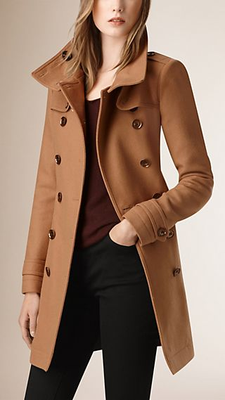 Trench-coat court en double sergé de laine