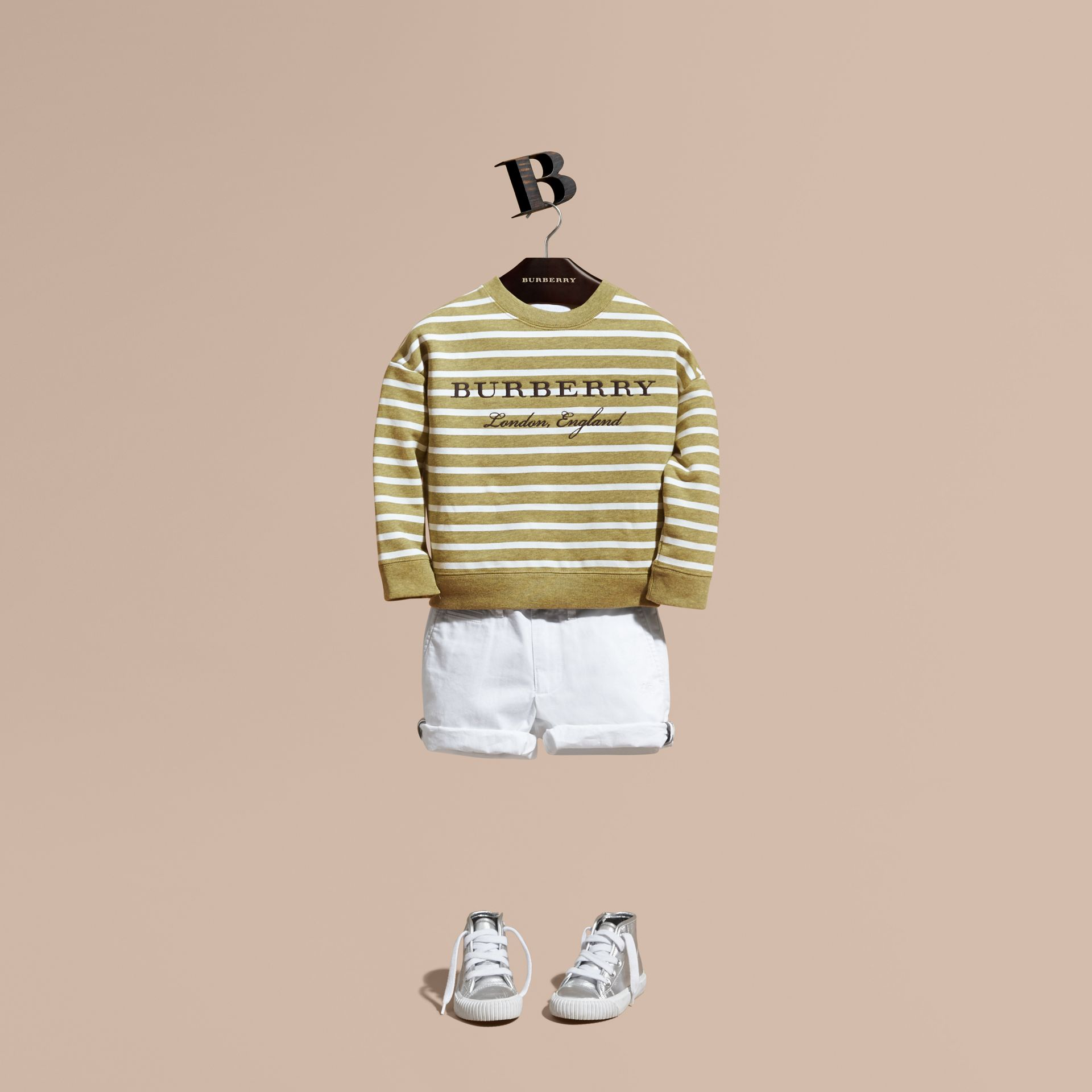 Striped Cotton Sweatshirt in Gorse Yellow Melange - Girl | Burberry - gallery image 1