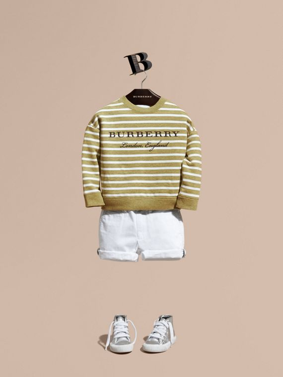 Striped Cotton Sweatshirt in Gorse Yellow Melange - Girl | Burberry